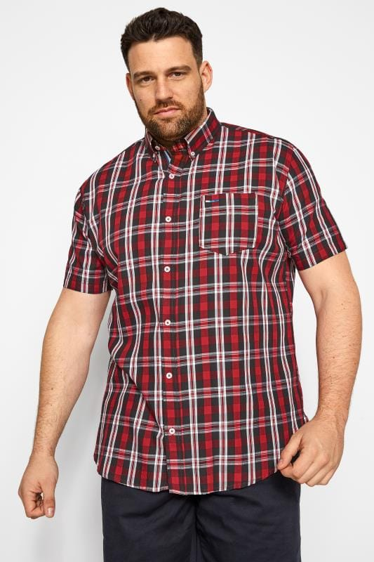 Plus Size Casual Shirts BadRhino Red Check Shirt