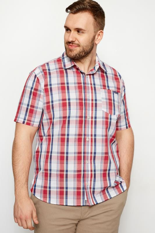 Casual Shirts dla puszystych BadRhino Red Check Short Sleeve Shirt