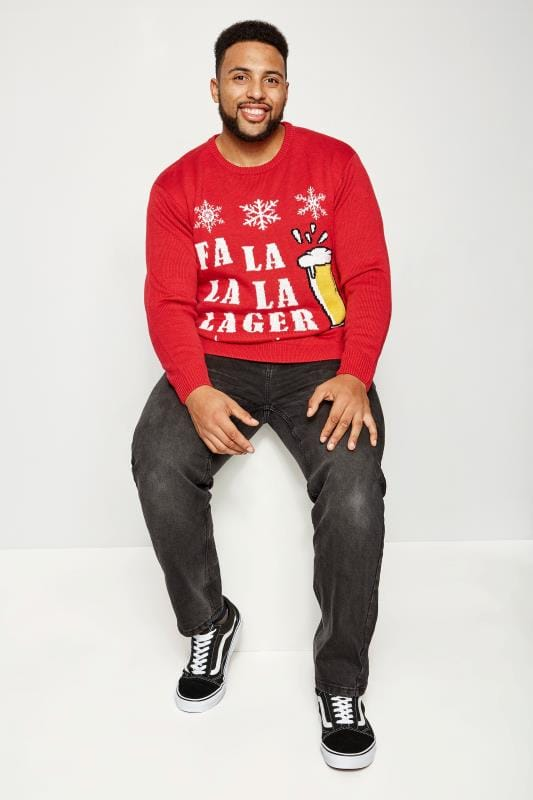 Plus Size Jumpers BadRhino Red Christmas 'Fa La La La Lager' Knitted Jumper