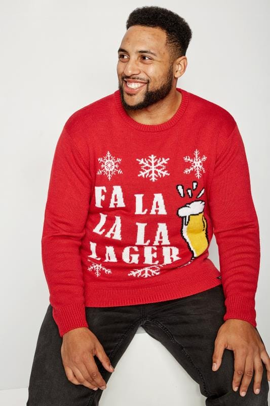 Jumpers BadRhino Red Christmas 'Fa La La La Lager' Knitted Jumper 200658