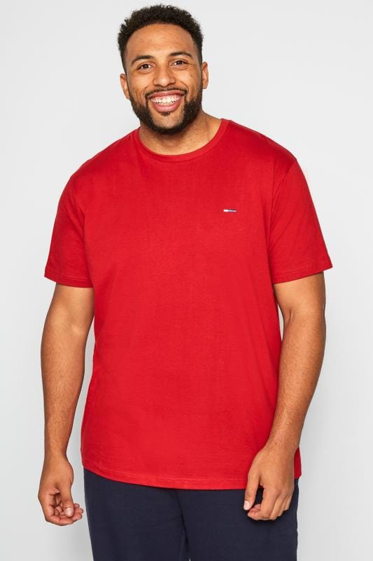 Plus Size T-Shirts BadRhino Red Crew Neck T-Shirt