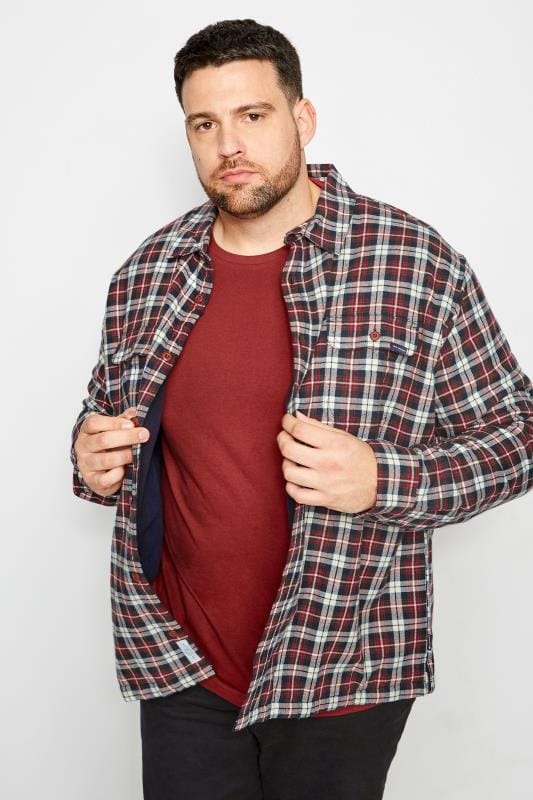 Plus Size Casual Shirts BadRhino Red & Navy Checked Padded Shirt With Fleece Lining