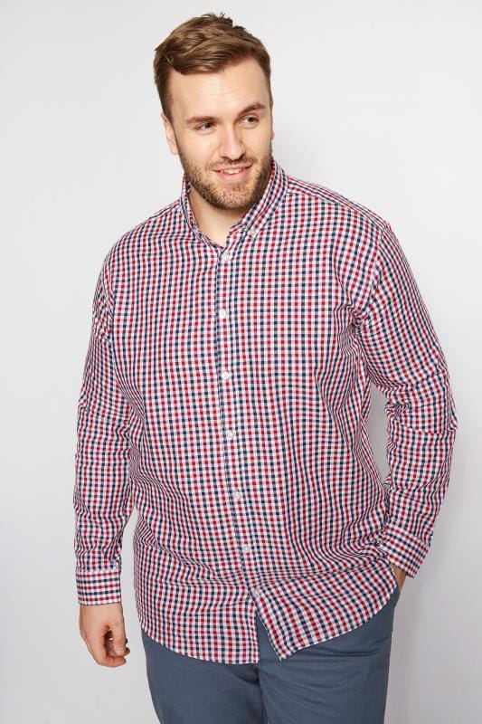 Smart Shirts BadRhino Red & Navy Gingham Check Shirt 200956