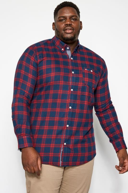 Casual Shirts BadRhino Red & Navy Large Check Brushed Shirt 201217