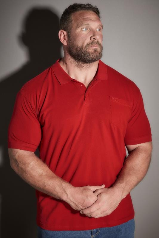 Plus Size Polo Shirts BadRhino Red Plain Polo Shirt With Chest Pocket