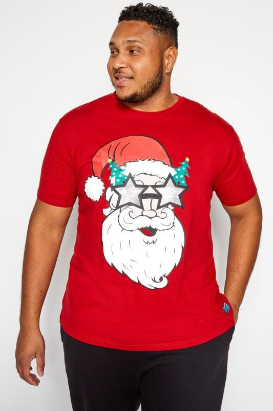 Große Größen T-Shirts BadRhino Red Santa Print T-Shirt