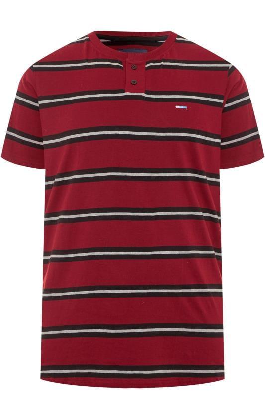 BadRhino Red Striped Grandad T-Shirt