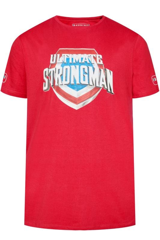 Plus Size T-Shirts BadRhino Red 'Ultimate Strongman' T-Shirt