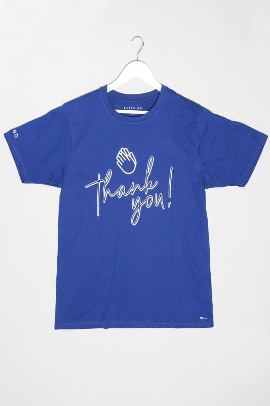 Plus Size Casual / Every Day BadRhino Royal Blue 'Thank You' Unisex NHS Charity T-Shirt