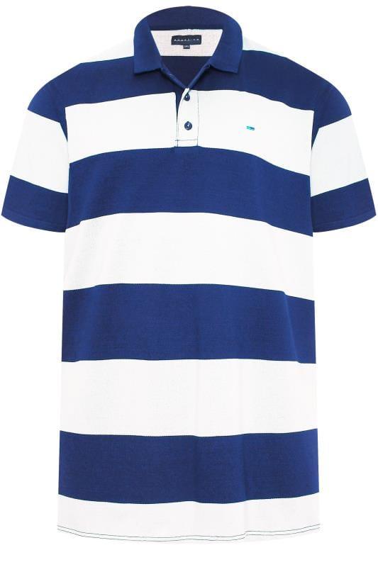 BadRhino Royal Blue & White Block Striped Polo Shirt
