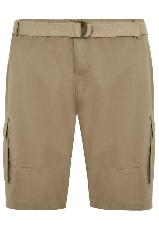 Men's Cargo Shorts BadRhino Stone Brown Cargo Shorts With Canvas Belt