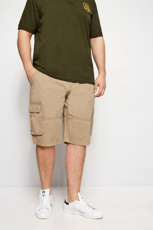 Plus Size Cargo Shorts BadRhino Stone Brown Cargo Shorts With Canvas Belt