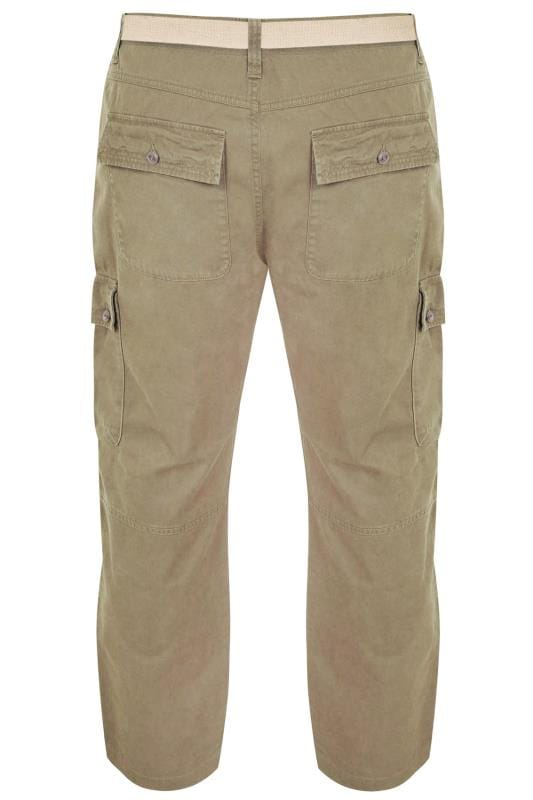 BadRhino Stone Brown Cargo Trousers With Utility Pockets & Canvas Belt