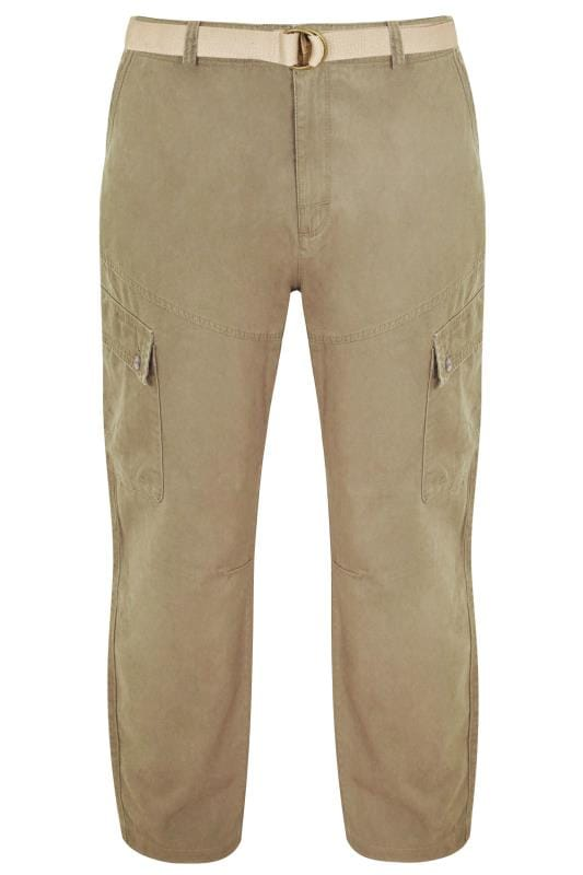 Cargo Trousers Tallas Grandes BadRhino Stone Brown Cargo Trousers With Utility Pockets & Canvas Belt
