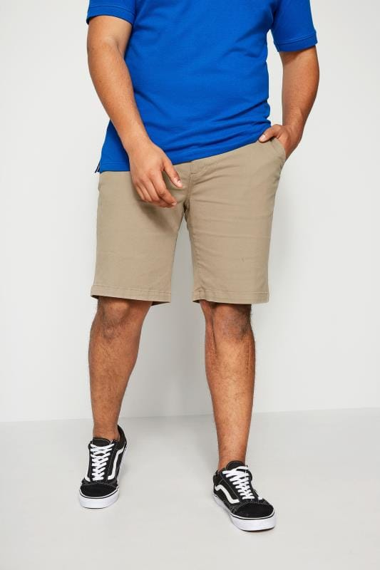 Plus Size Chino Shorts BadRhino Stone Five Pocket Chino Shorts With Belt