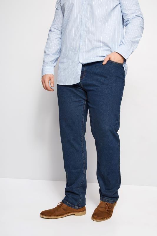 Plus Size Straight BadRhino Stonewash Denim Straight Leg Jeans
