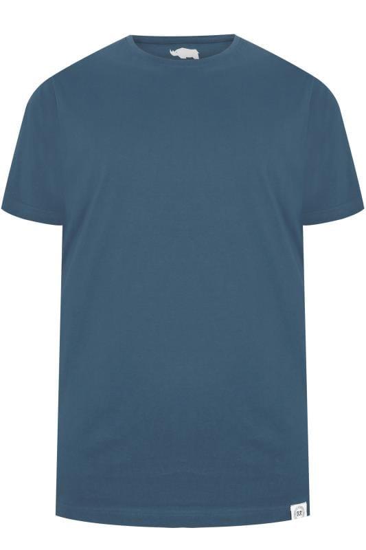 BadRhino Teal Blue Crew Neck Basic T-Shirt