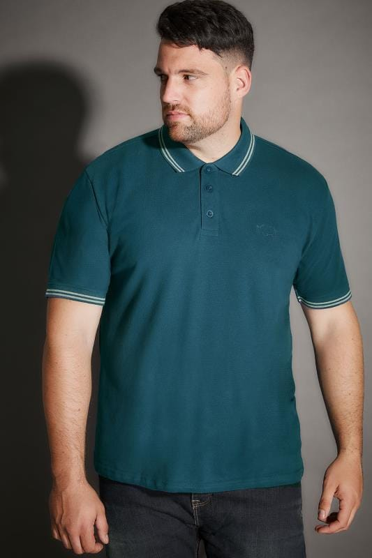 BadRhino Teal Blue Textured Tipped Polo Shirt