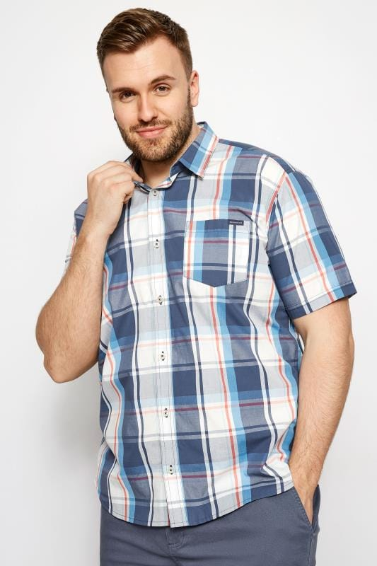 Casual Shirts Tallas Grandes BadRhino Turquoise Blue Check Short Sleeve Shirt