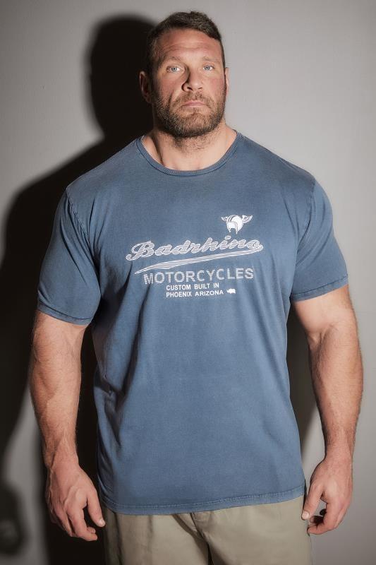 BadRhino Vintage Blue Motorcycle Slogan T-Shirt