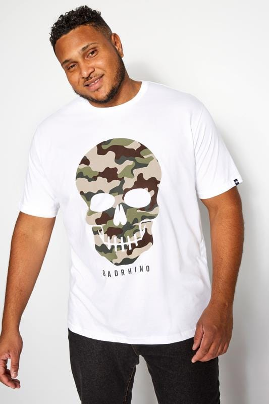 Plus Size T-Shirts BadRhino White Camo Skull Graphic Print T-Shirt