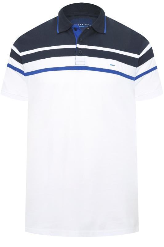 Polo Shirts BadRhino White Chest Stripe Polo Shirt 202106
