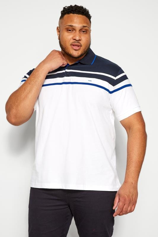 Polo Shirts BadRhino White Chest Stripe Polo Shirt 202106