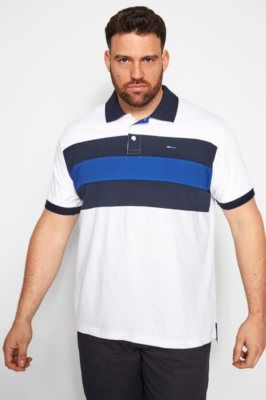 Plus Size Polo Shirts BadRhino White Colour Block Polo Shirt