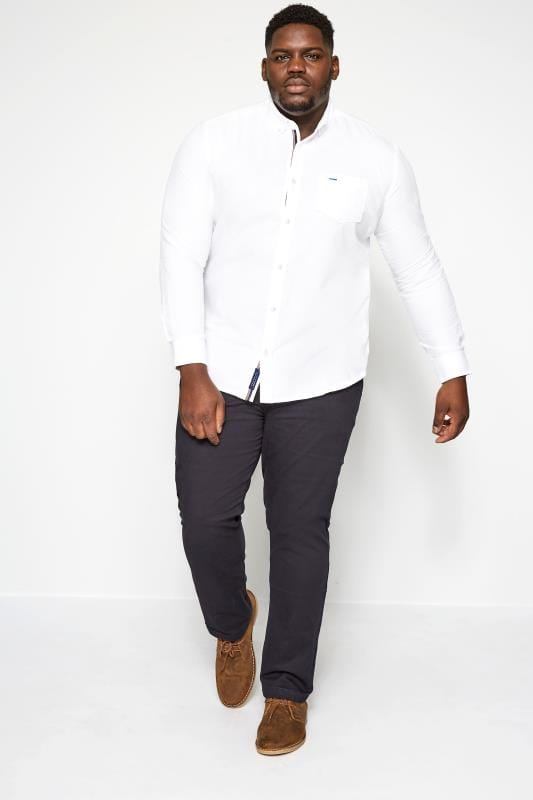 BadRhino White Cotton Long Sleeved Oxford Shirt