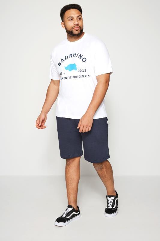 Große Größen T-Shirts BadRhino White Crew Neck Logo T-Shirt
