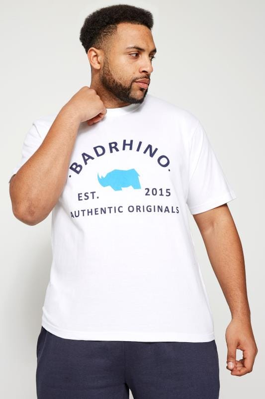Plus Size T-Shirts BadRhino White Crew Neck Logo T-Shirt