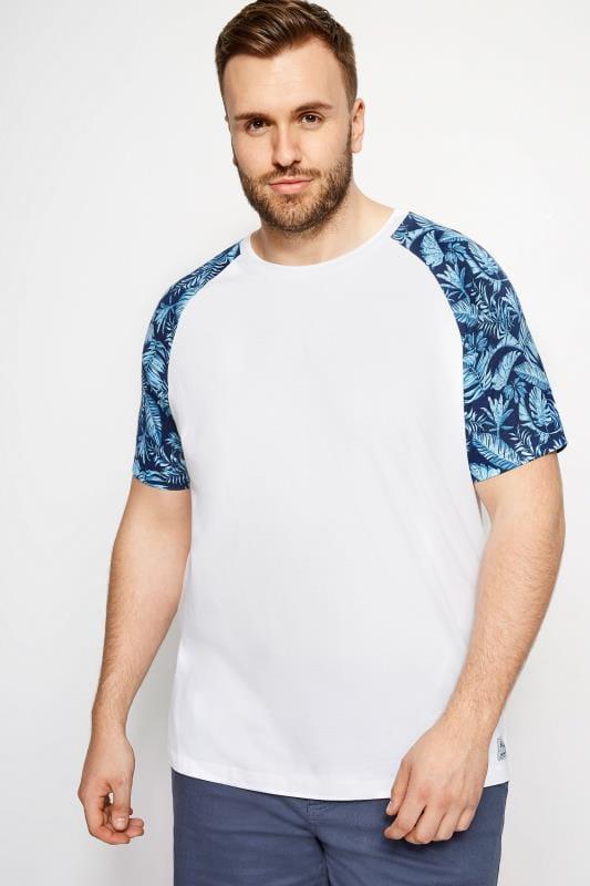 T-Shirts BadRhino White Leaf Print Raglan T-Shirt 200996