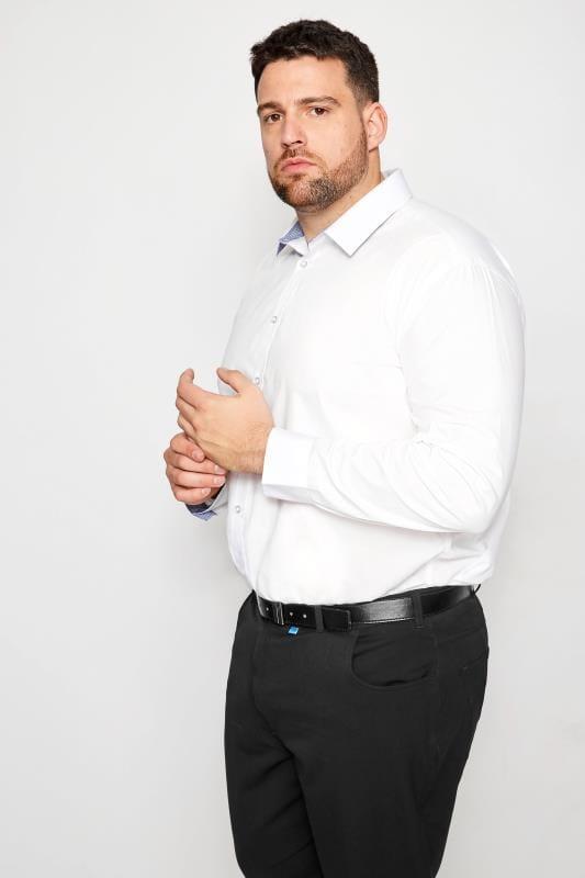 BadRhino White Smart Patterned Trim Shirt