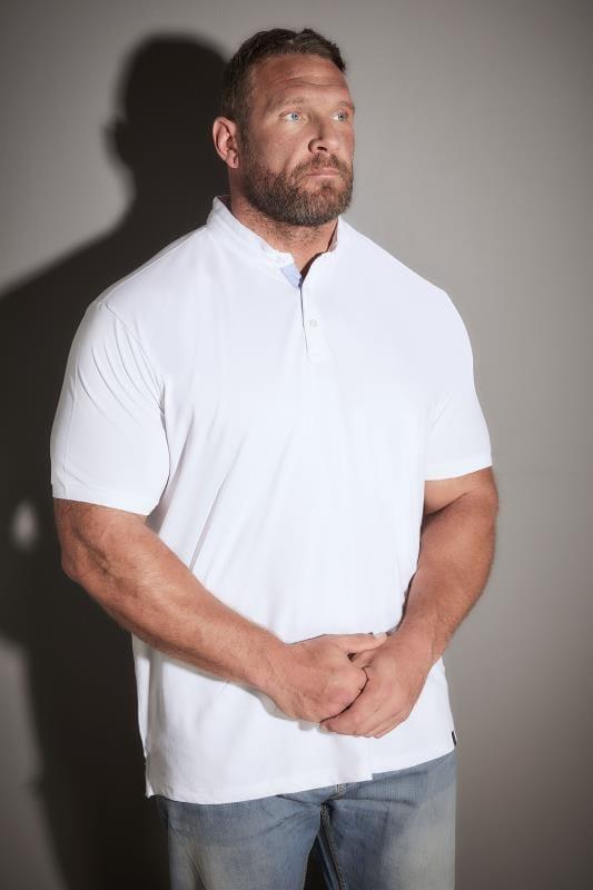 BadRhino White Stretch Grandad Polo Shirt