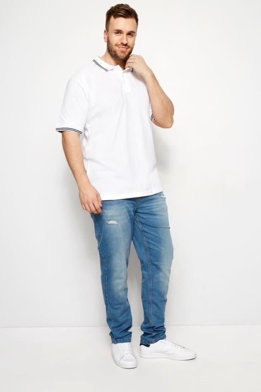 BadRhino White Textured Tipped Polo Shirt
