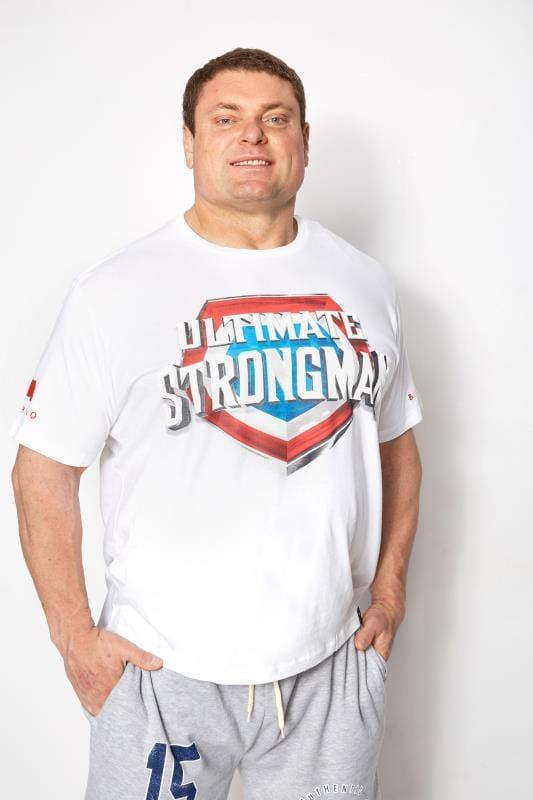 Men's T-Shirts BadRhino White 'Ultimate Strongman' T-Shirt