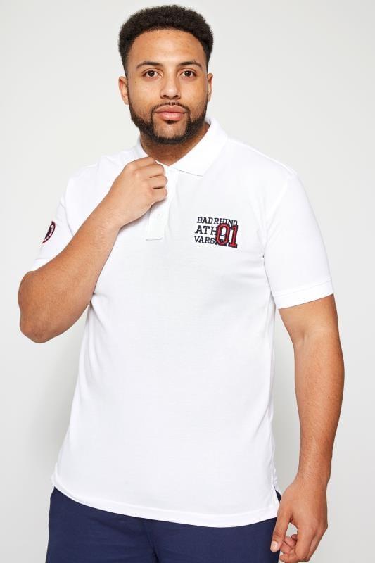 BadRhino White Varsity Badge Polo Shirt