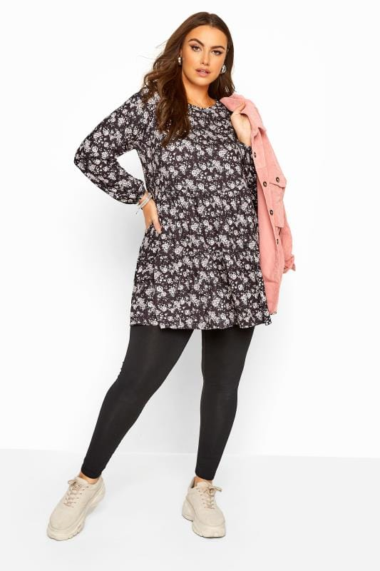 Black Floral Balloon Sleeve Tiered Smock Tunic