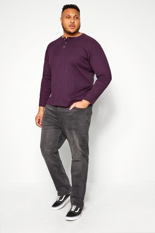 BAR HARBOUR Sweatshirt mit Opa-Kragen - Pflaume meliert
