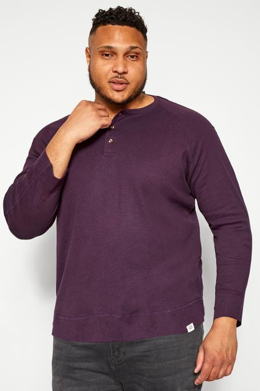 Plus Size Sweatshirts BAR HARBOUR Purple Marl Grandad Sweatshirt