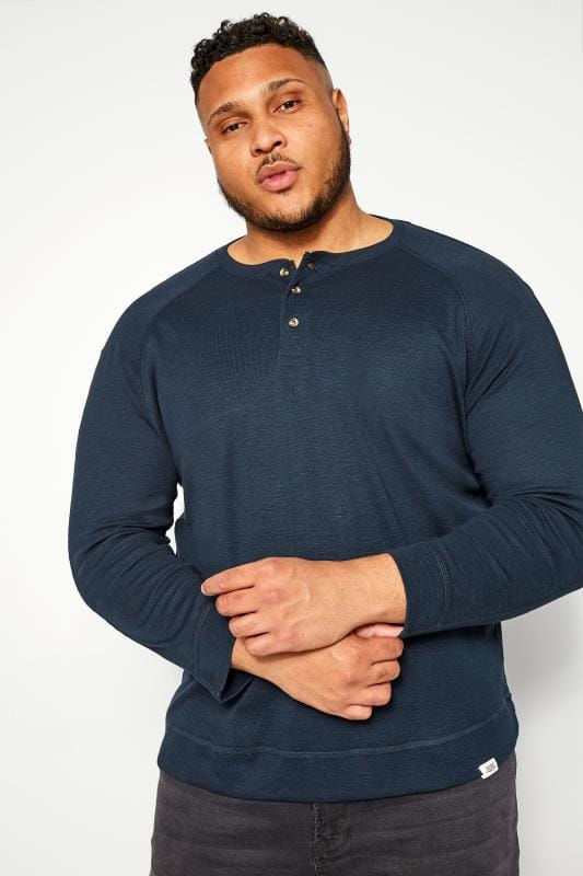 Plus Size Sweatshirts BAR HARBOUR Navy Marl Grandad Sweatshirt