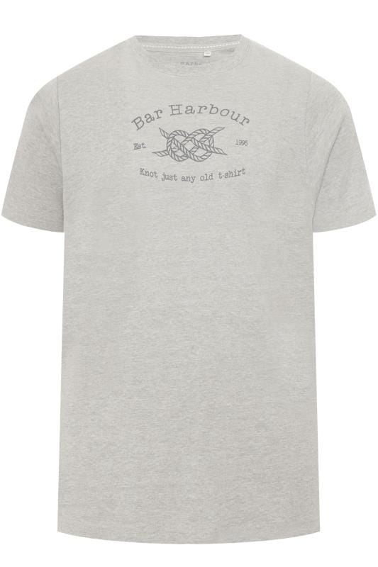Plus Size T-Shirts BAR HARBOUR Grey Logo Printed T-Shirt