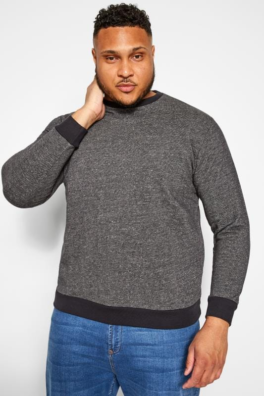 Plus Size Jumpers BAR HARBOUR Charcoal Grey Marl Sweatshirt