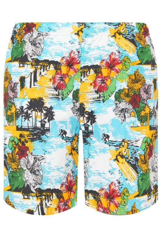 Plus Size Swim Shorts BAR HARBOUR Blue & Yellow Hawaiian Swim Shorts