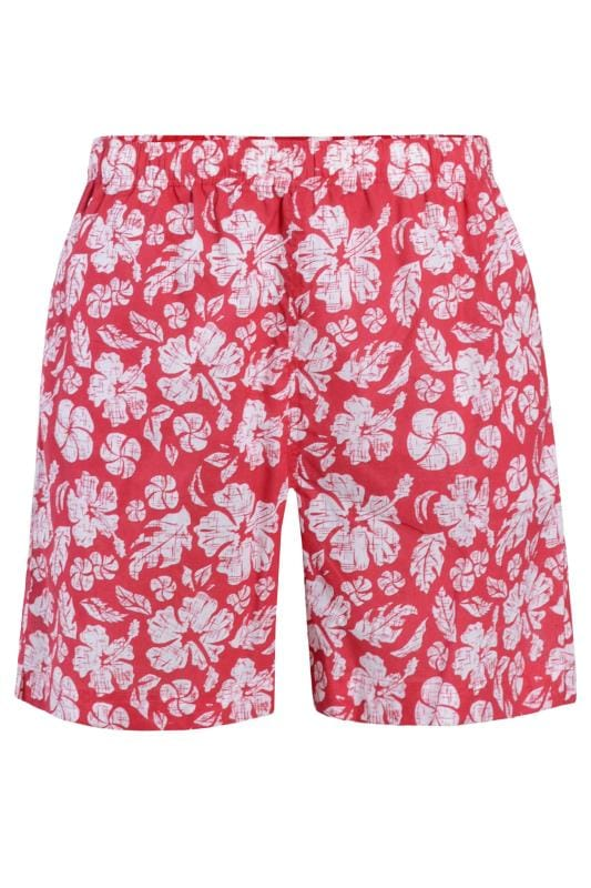 Plus Size Swim Shorts BAR HARBOUR Red Tropical Swim Shorts