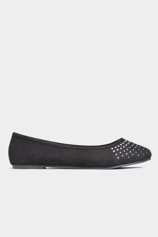 Black Diamante Embellished Ballerina Pumps In Extra Wide Fit