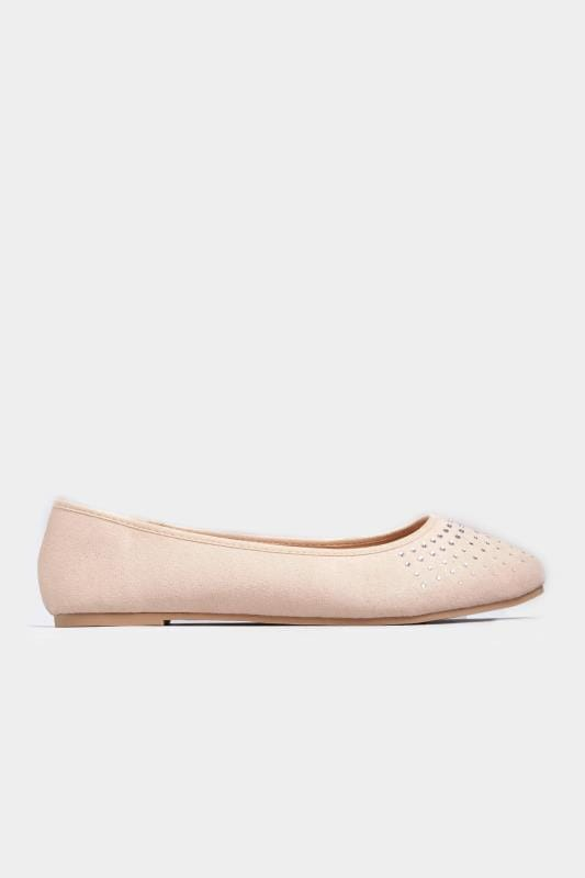 Nude Diamante Embellished Ballerina Pumps In Extra Wide Fit