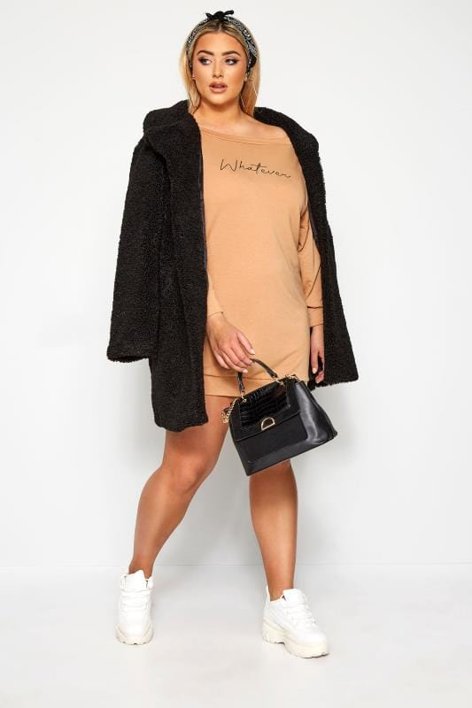 Plus Size Casual Dresses LIMITED COLLECTION Camel Off The Shoulder Dress