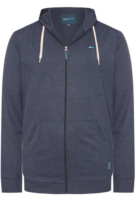 BadRhino Denim Marl Zip Through Hoodie