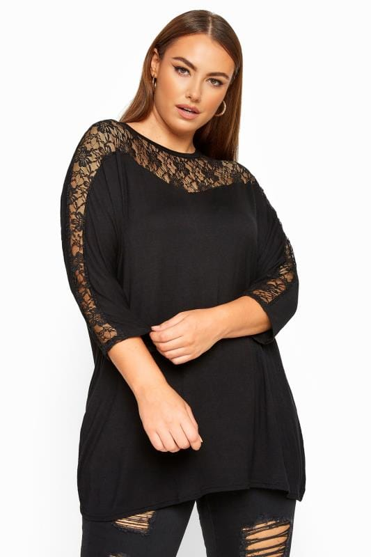 Plus Size Day Tops LIMITED COLLECTION Black Lace Insert Batwing Sleeve Top